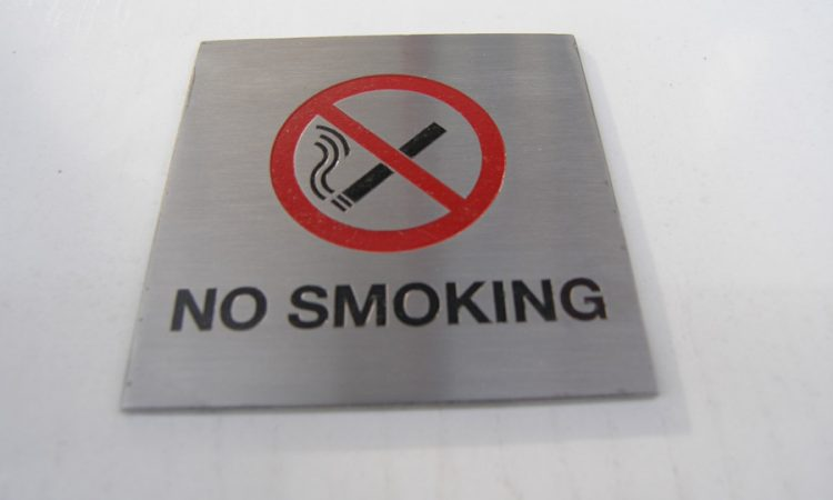 100mmx100mm Brushed stainless steel 'no smoking' sign