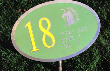 18th hole stainless reverse engraved, green and yellow backfill