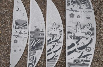 Laser etching - 2 Metre high laser cut & etched stainless steel