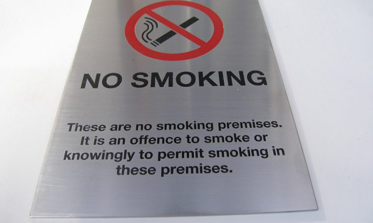 A4 Brushed stainless steel 'no smoking' sign