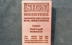 Cedar etched plaque
