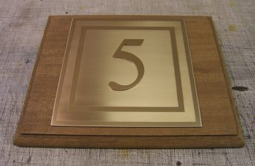 Hotel Number, cut out number on brushed and engraved Brass