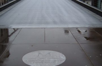 Millennium Bridge Floor Graphics in stainless steel