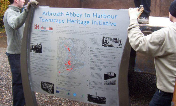 Part of a series of signs for Arbroath harbour area