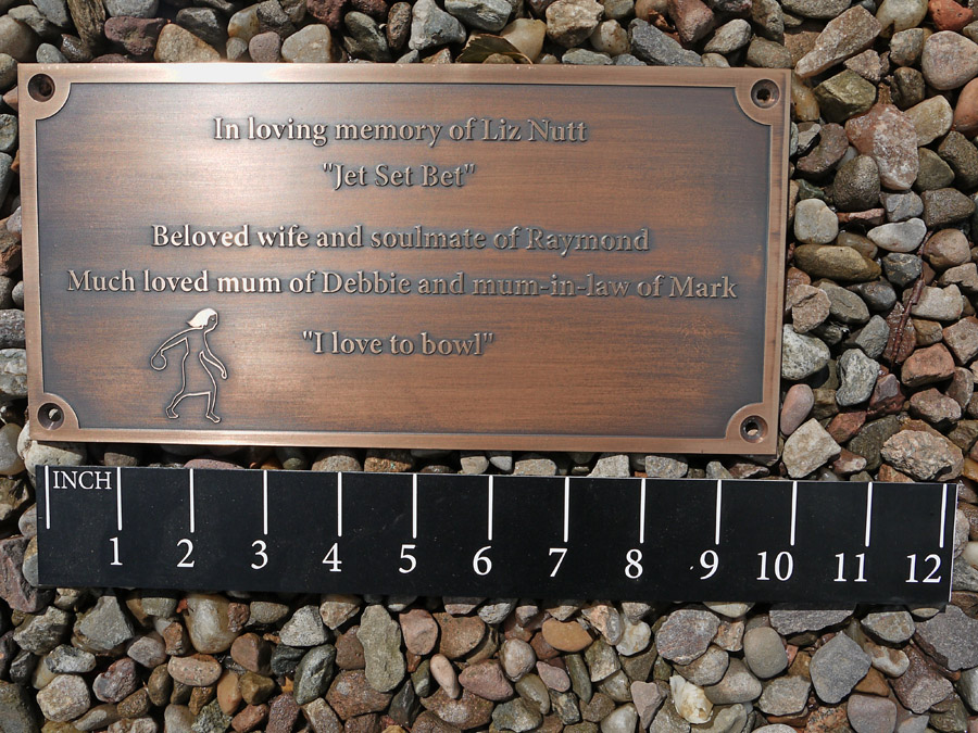Engraved memorial plaques: Reverse unfilled bronze memorial plaque