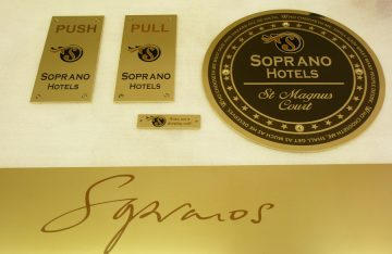Superb Brass signage system for an Aberdeen Hotel