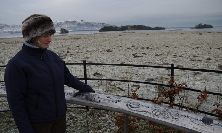 Vane Farm frozen oval viewpoint sign at Loch Leven