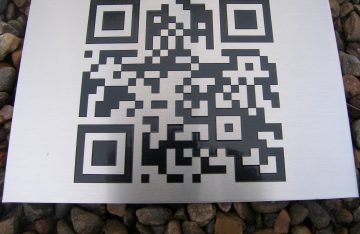 QR code on an aluminium sign