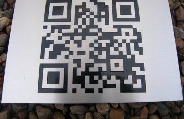 QR code on an aluminium sign