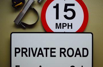 Aluminium & Foamex private road sign
