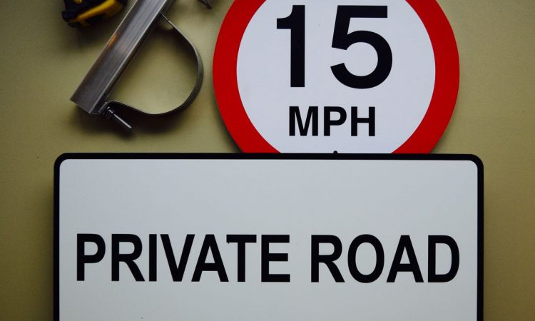 Aluminium & Foamex private road sign