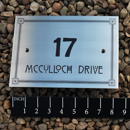Stainless Steel House sign with border